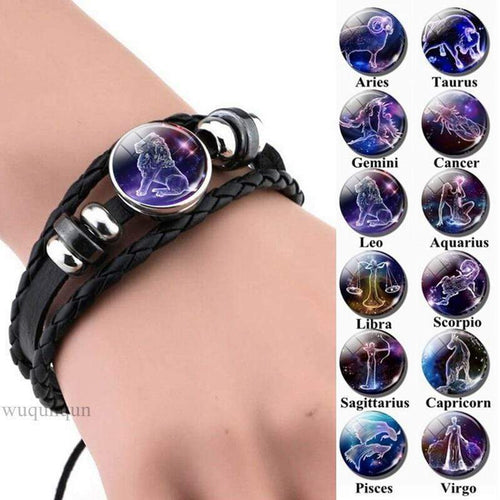 Zodiac Leather Bracelet Glass Dome Jewelry Bracelet casetent
