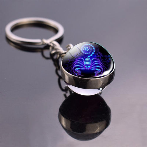 Zodiac Sign Key-chain Sphere Ball Key Chain casetent