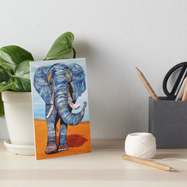 Blue Lucky Elephant Art Board Print