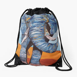 Blue Lucky Elephant Drawstring Bag