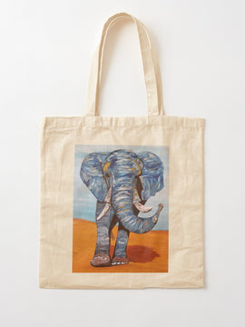 Blue Lucky Elephant Tote Bag