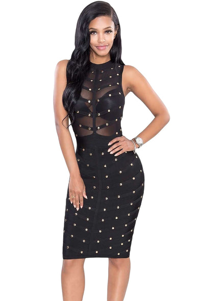 Women Clothing Designers The Best Black Studded Bandage Dress