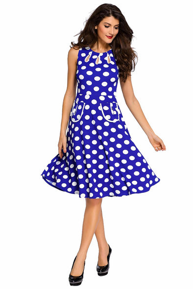 Women Clothing Designers The Best Blue Polka Dot Bohemain Print Dress with Keyholes