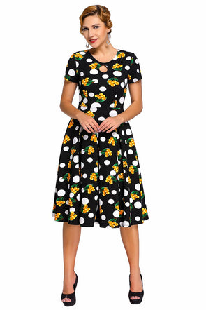 Women Clothing Designers The Best Dot Floral Print Keyhole Vintage Swing Dress