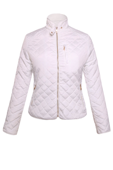 Women Clothing Designers The Best White Quilted High Neck Cotton Jacket