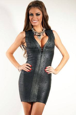 Women Clothing Designers The Best Club Party Metallic Black Bandage Dress