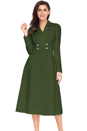 Women Clothing Designers The Best Army Green Vintage Button Collared Fit-and-flare Dress