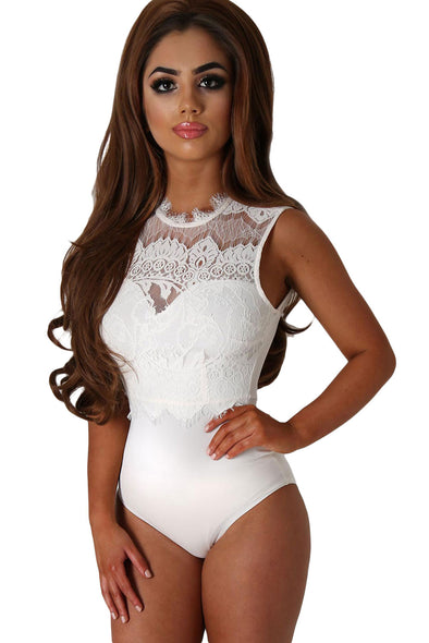 Women Clothing Designers The Best White Lace High Neck Cut Out Back Bodysuit