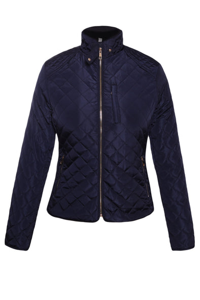 Women Clothing Designers The Best Navy Quilted High Neck Cotton Jacket