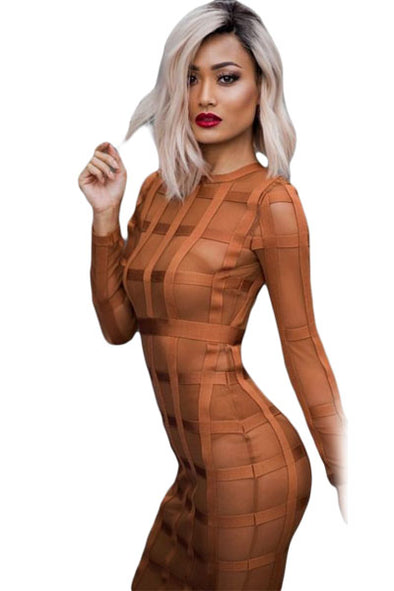 Women Clothing Designers The Best Golden Brown Bandage Caged Panty Lined Dress