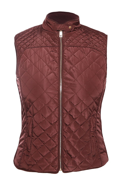 Women Clothing Designers The Best Burgundy High Neck Cotton Quilted Vest Coat