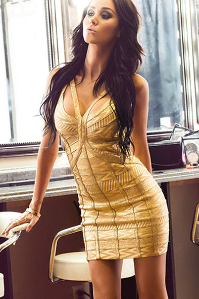 Women Clothing Designers The Best Gold Worshiper Bandage Dress