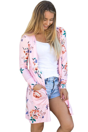 Women Clothing Designers The Best Pink Long Sleeve Floral Cardigan Coat