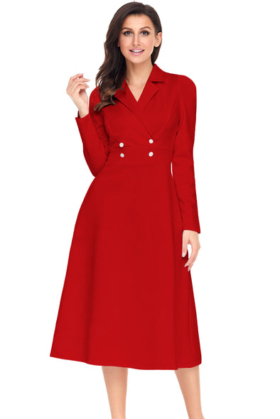 Women Clothing Designers The Best Red Vintage Button Collared Fit-and-flare Dress