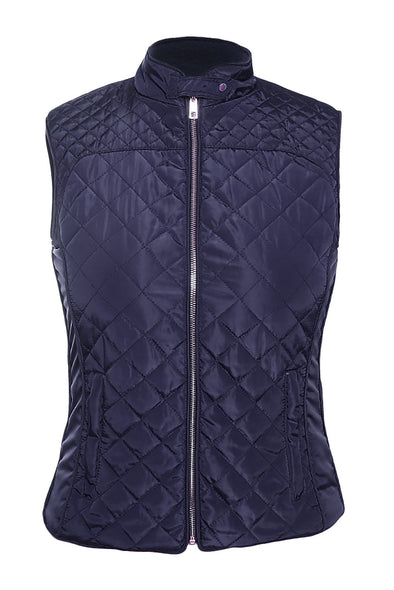 Women Clothing Designers The Best Blue High Neck Cotton Quilted Vest Coat