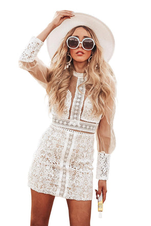 Women Clothing Designers The Best White Lace Sheer Bodycon Two-piece Dress