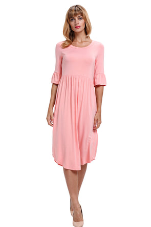 Women Clothing Designers The Best Pink Ruffle Sleeve Midi Jersey Dress