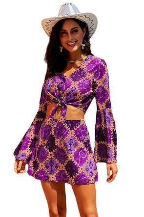 Women Clothing Designers The Best Purple Retro Bell Sleeve Front Knot 2 Pcs Dress