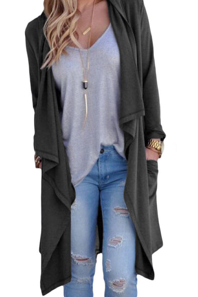 Women Clothing Designers The Best Grey Drapery Open Front Back Slit Oversize Coat