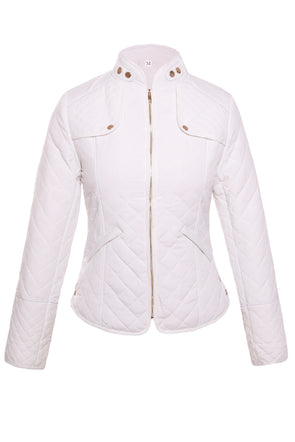 Women Clothing Designers The Best White Plaid Quilted Cotton Jacket
