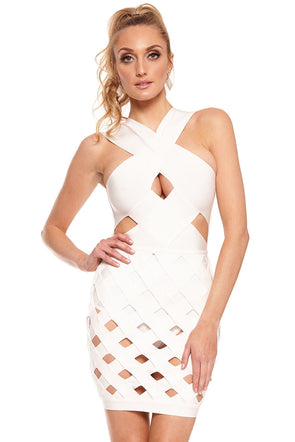 Women Clothing Designers The Best White Celeb Style Crisscross Caged Bandage Dress