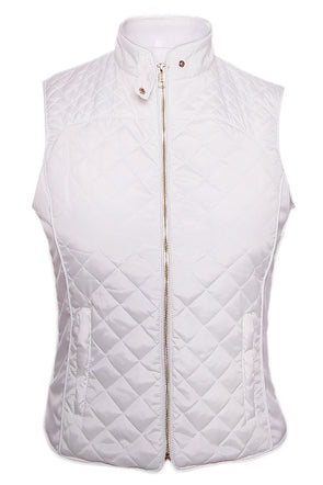 Women Clothing Designers The Best White High Neck Cotton Quilted Vest Coat