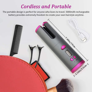 U-Unbound Cordless Hair Auto Curler- Portable Wireless Automatic Hair Curler