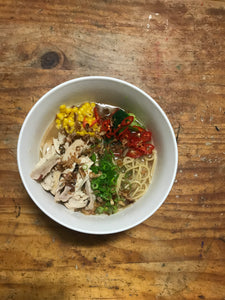 Chicken soup with noodles, miso + vegetables