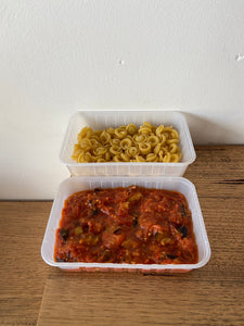 Pasta Caponata (Vegan option)
