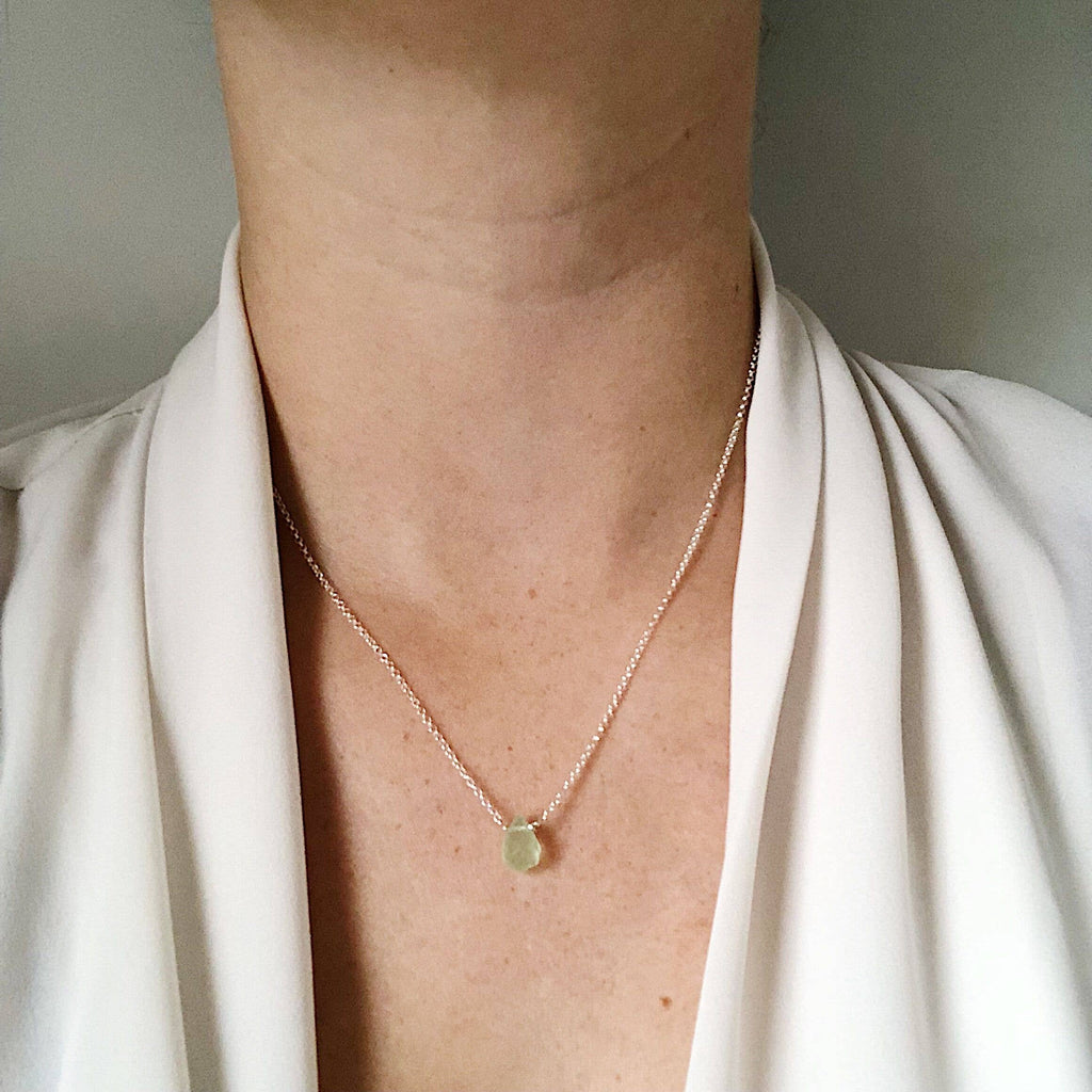 Green Chalcedony Teardrop Necklace