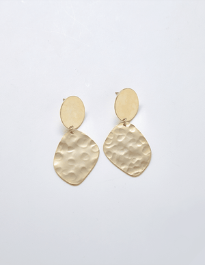 Gold Hammered Drop Earrings