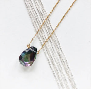 Electroplated Quartz Teardrop Necklace Silver