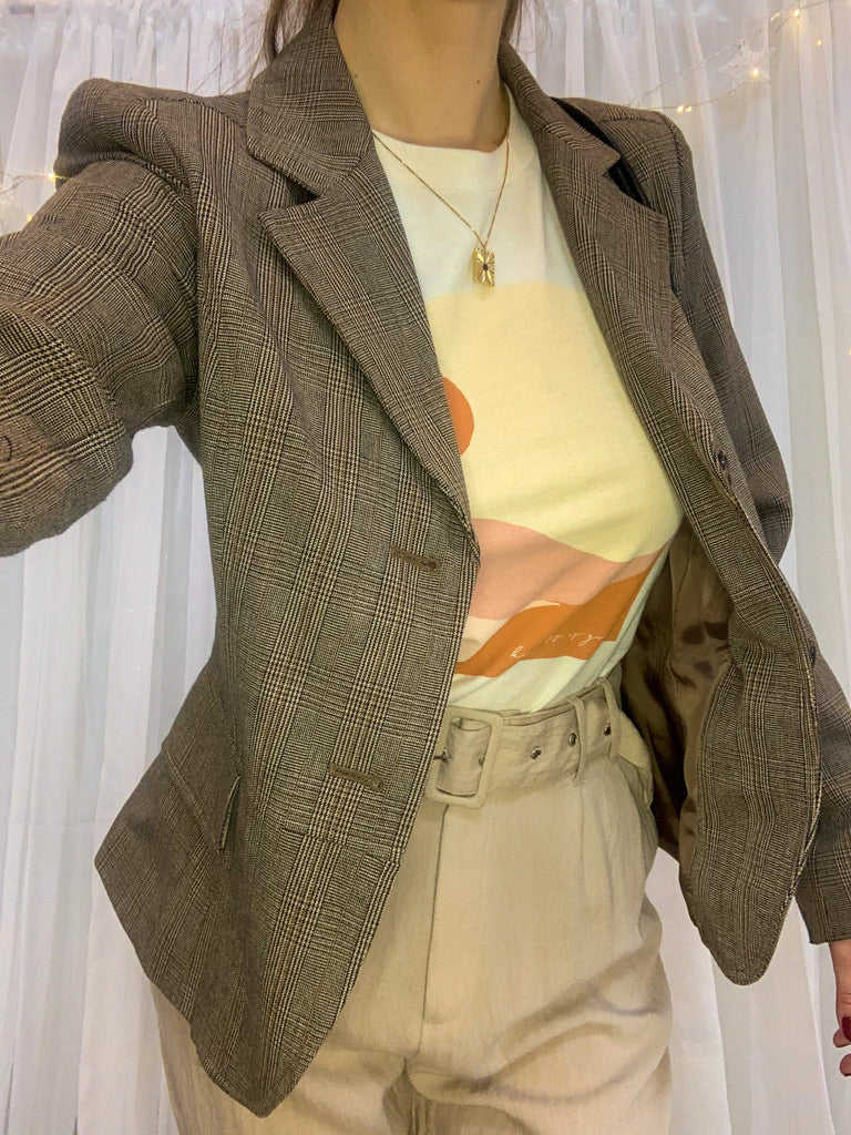 Women's Tan Plaid Blazer by Rafaella