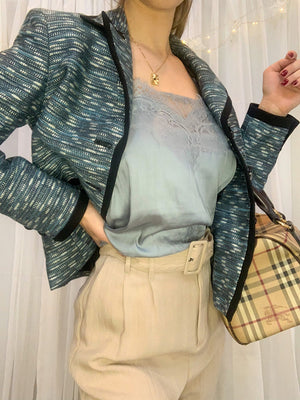 Mixed Knit Metallic Blazer by Kasper