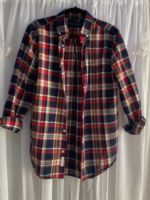 Linen Blend Navy Plaid Shirt/Shacket