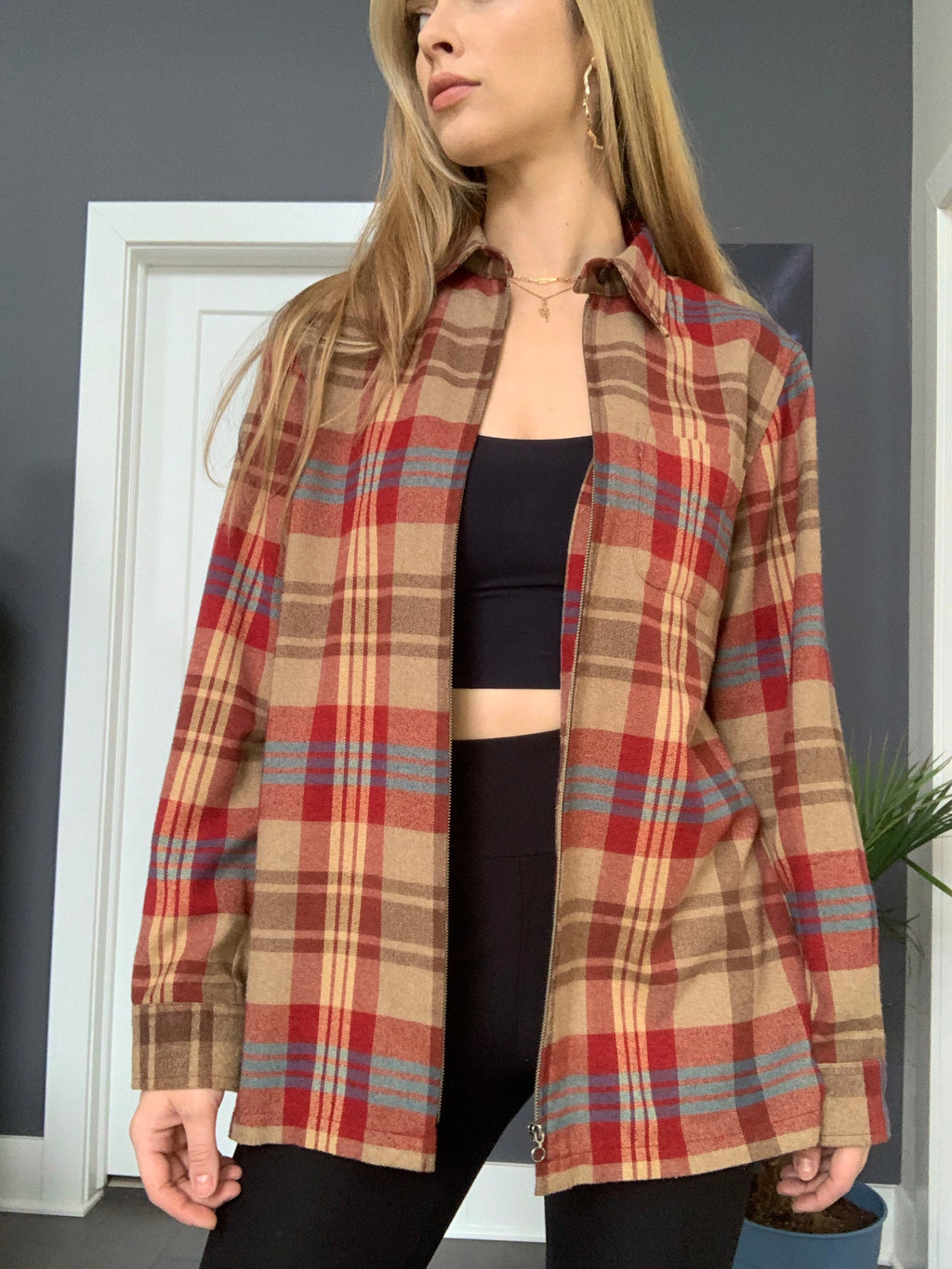 Camel Plaid Zip-up Soft Flannel/Shacket