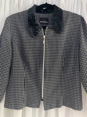 Vintage Houndstooth Cropped Jacket