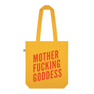 Motherf*cking Goddess Organic Cotton Slogan Tote - Yellow