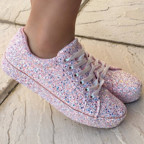 Rhinestone Lace-Up Round Toe Low-Cut Upper Flat With Sneakers