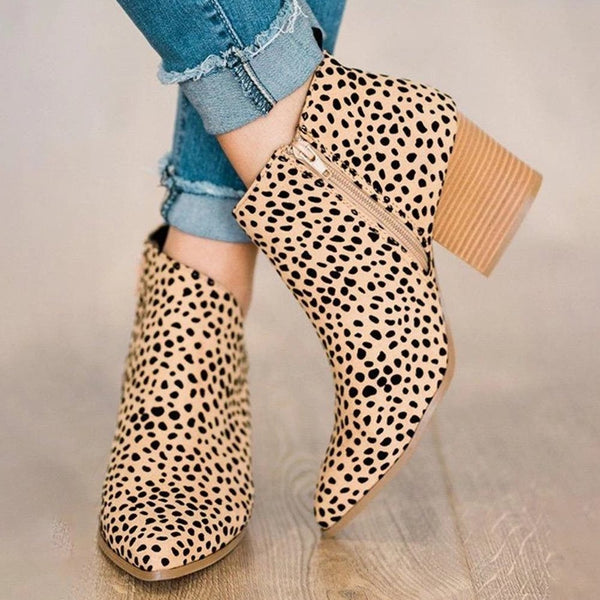 Side Zipper Pointed Toe Leopard Print Casual Boots
