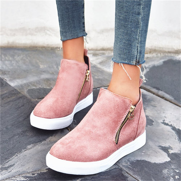 Zipper Round Toe Platform Flat With Plain Sneakers