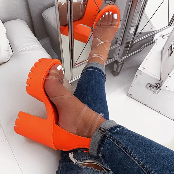 Open Toe Heel Covering Chunky Heel Zipper See-Through Sandals