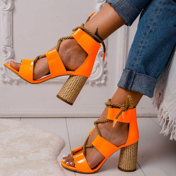 Lace-Up Heel Covering Peep Toe Chunky Heel Sandals