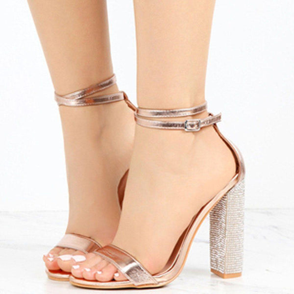 Lace-Up Heel Covering Open Toe Chunky Heel Plain Rhinestone Sandals