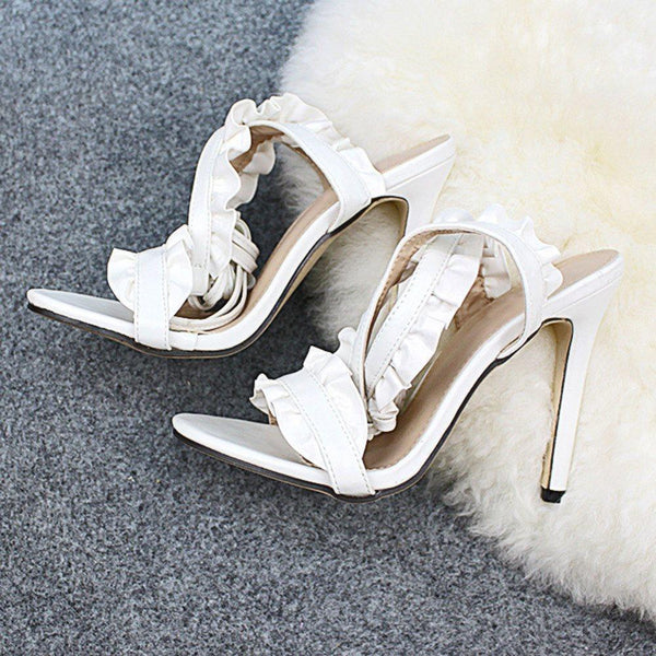Open Toe Stiletto Heel Ankle Strap Lace-Up Casual Plain Sandals