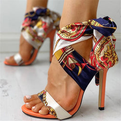 Stiletto Heel Open Toe Lace-Up Lace-Up Sandals