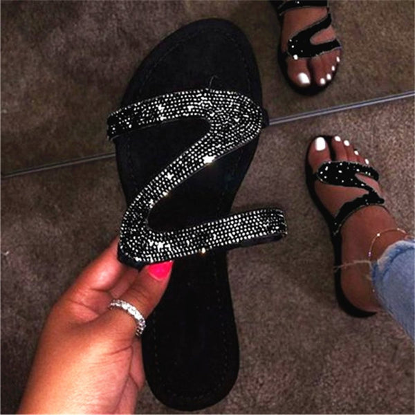 Rhinestone Slip-On Flat With Flip Flop Rubber Slippers