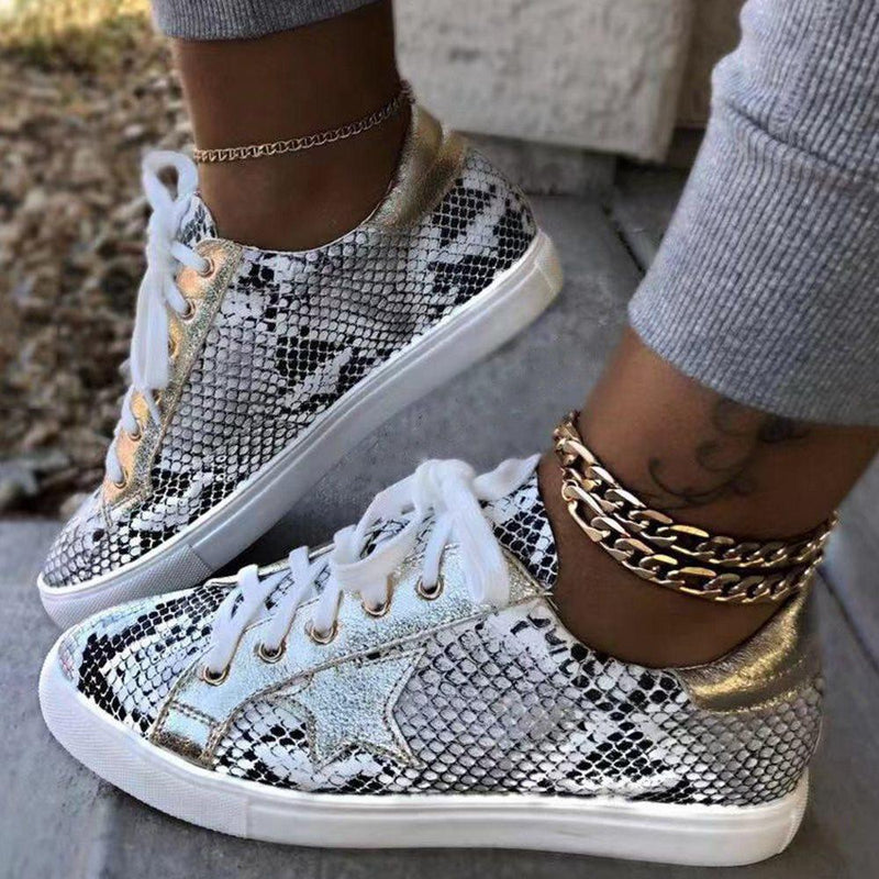 Serpentine Low-Cut Upper Lace-Up Round Toe Casual Casual Sneakers
