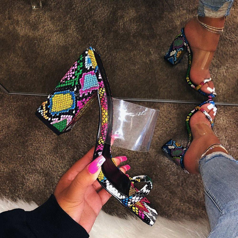 Chunky Heel See-Through Slip-On Flip Flop Patchwork PVC Slippers