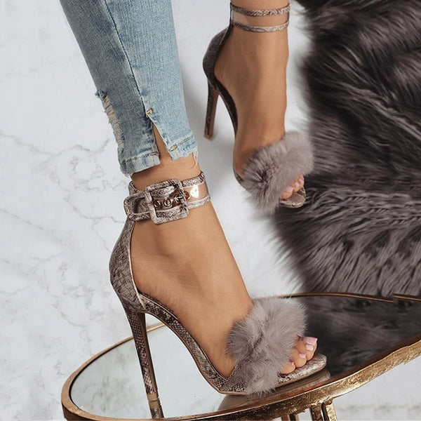 Stiletto Heel Ankle Strap Open Toe Line-Style Buckle Feather Sandals